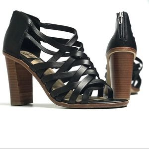DV Dolce Vita Black Leather Cage Strappy Heels